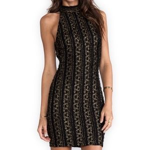 Torn by Ronny Kobo Black and Gold Halter Dress